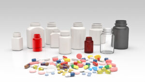 Empty bottles with pills